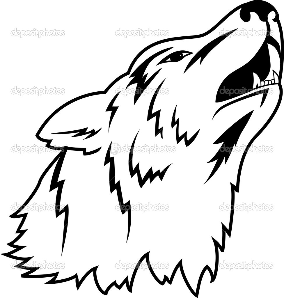 Wolf Line Drawing Tattoo : Wolf tattoo — stock vector