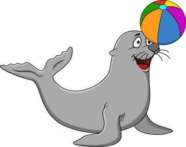 Seal plying colorful ball