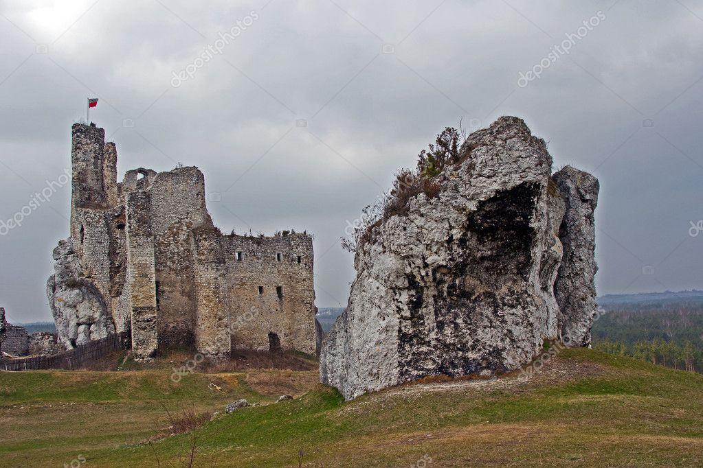 Rovine Del Castello Medievale Con Torre A Mirow Immagine Stock