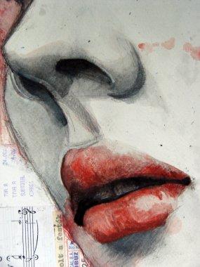 Illustrated portrait of beautiful girl | watercolor