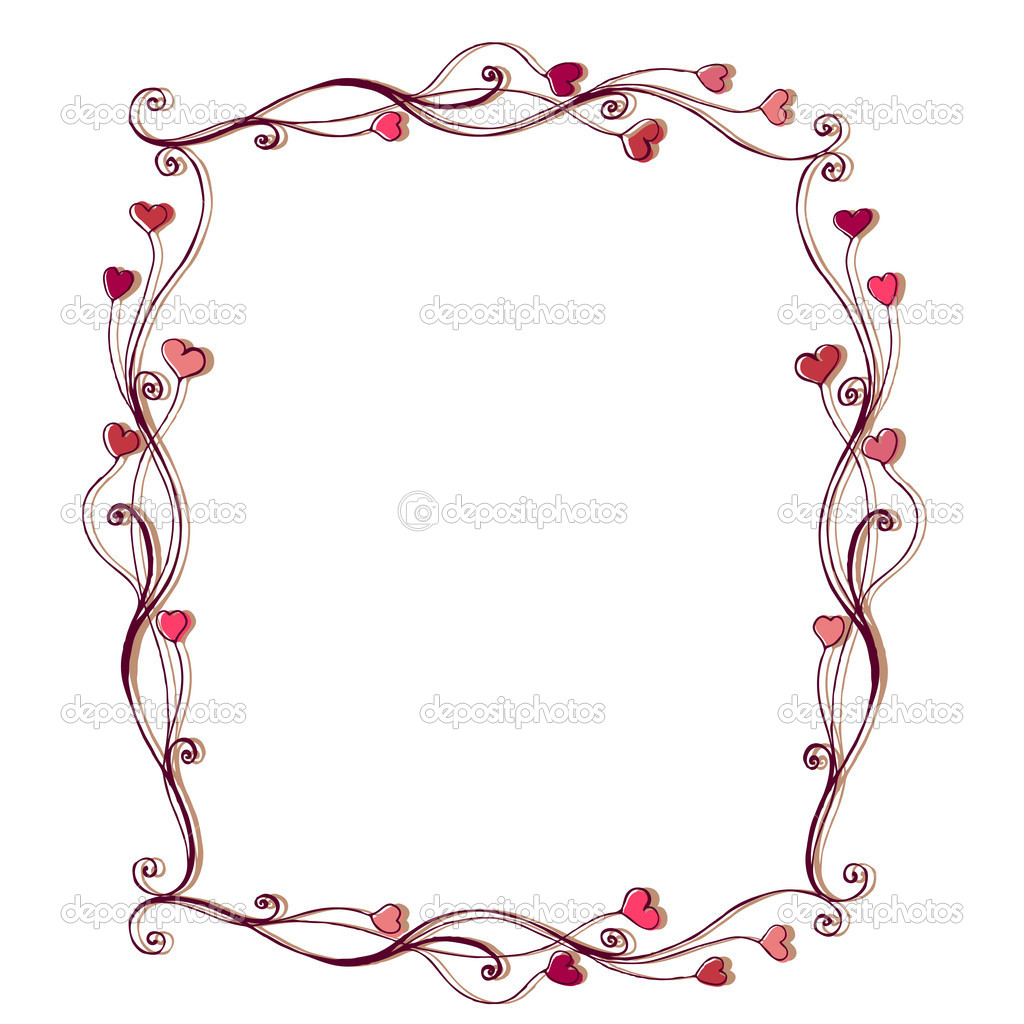Illustrated cute frame with hearts