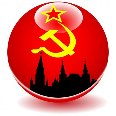 Moscow red square on the background of the flag of the USSR.Vector