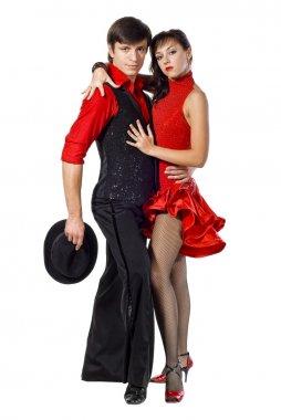 Portrait of young elegance tango dancers.