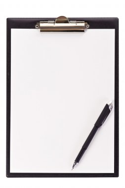 Blank black clipboard with a pen