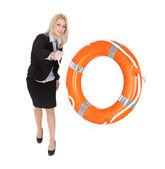 Beautiful businesswoman throwing life buoy