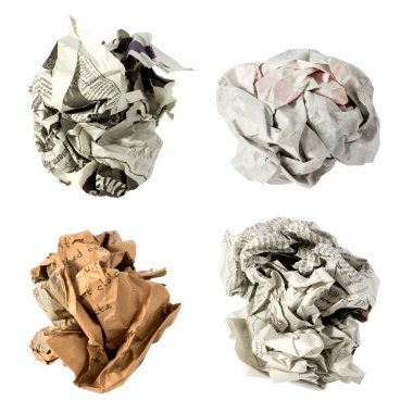 Set of crumpled paper ball