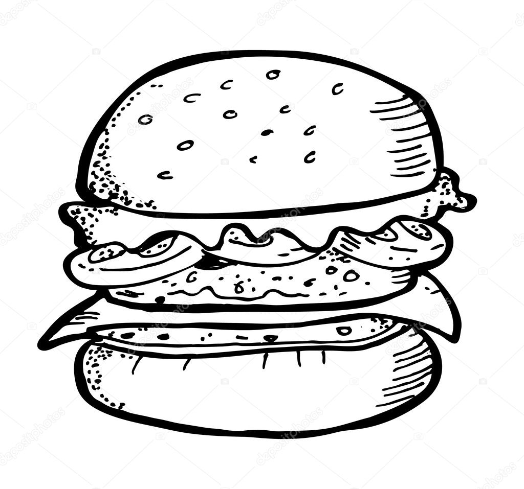 Line Drawing Vs Value Drawing : Doodle burger — image vectorielle mhatzapa