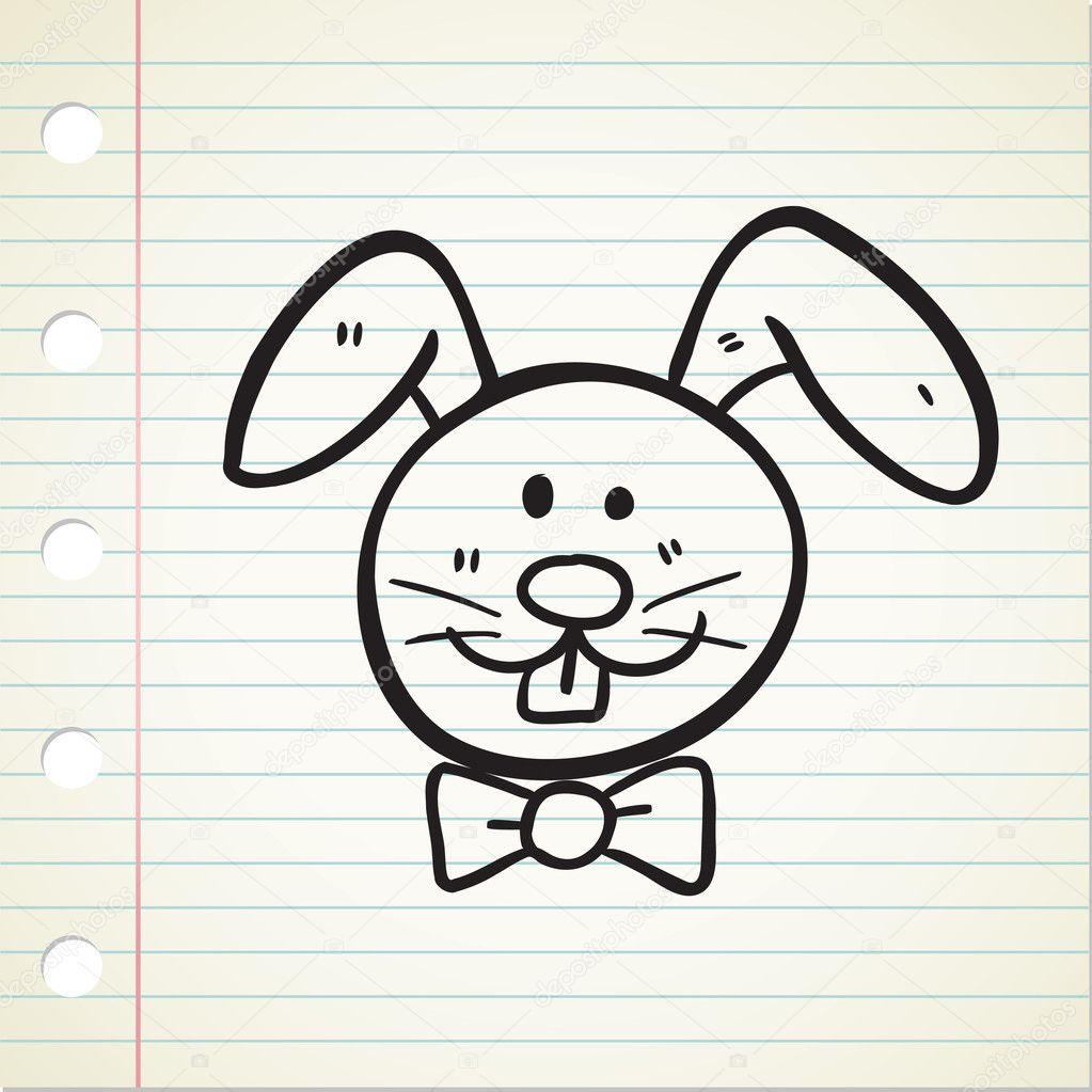 Tavşan Kafası Doodle Stok Vektör Mhatzapa 9650722
