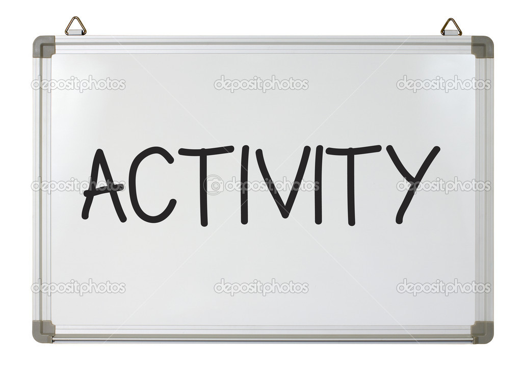 Activity Word On Whiteboard Stock Photo