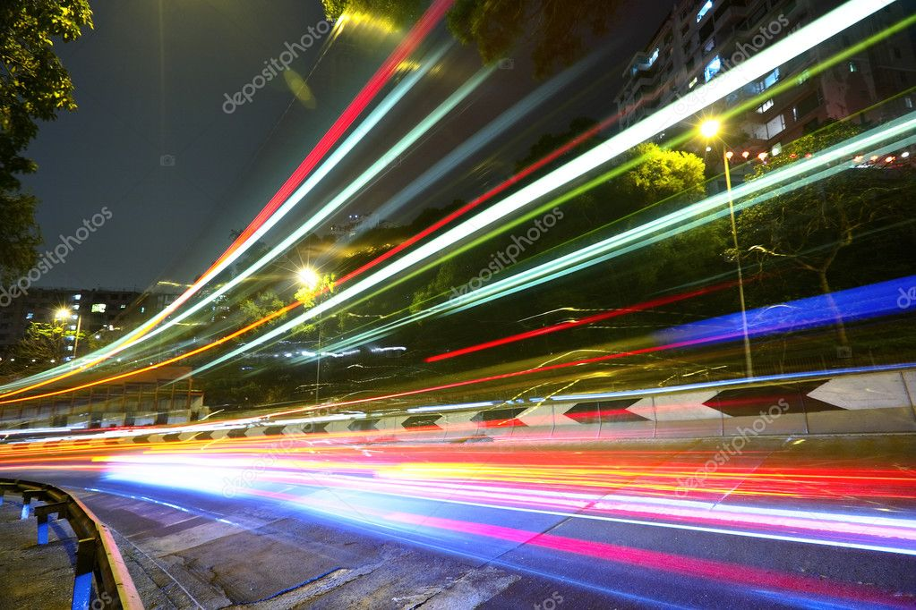 Фотообои Light trails on highway