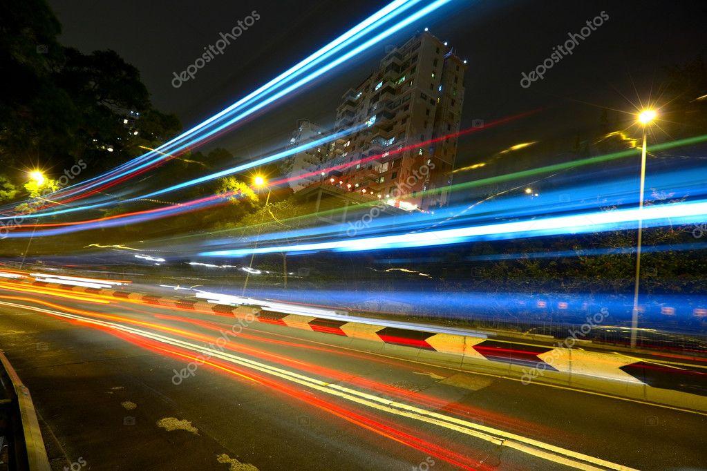 Фотообои Light trails on highway