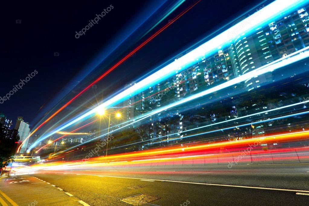 Фотообои Highway car light trails