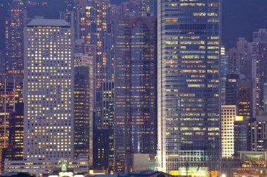 Business buildings at night in Hong Kong