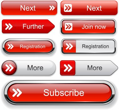 Forward red design elements for website or app. Vector eps10. stock vector