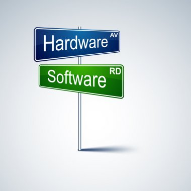 Hardware software direction road sign.