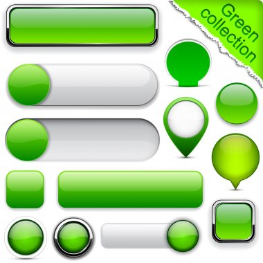 Blank green web buttons for website or app. Vector eps10. stock vector