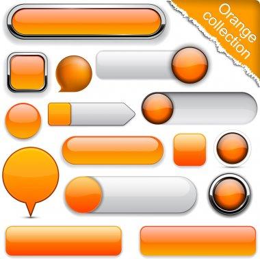 Blank orange web buttons for website or app. Vector eps10. stock vector