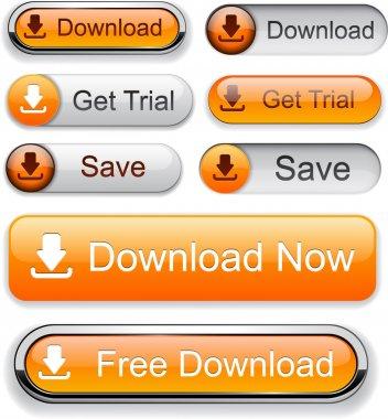 Download web orange buttons for website or app. Vector eps10. stock vector