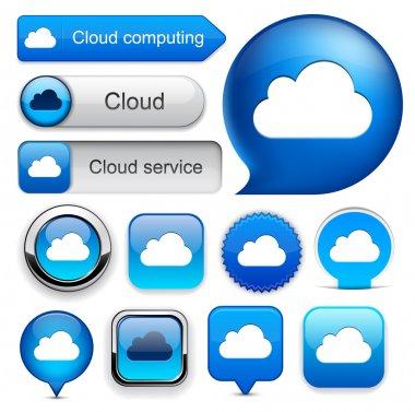 Cloud computing high-detailed modern buttons.