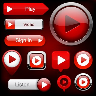 Play red web buttons for website or app. Vector eps10. stock vector