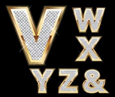 Set Diamond Gold Letters V-Z