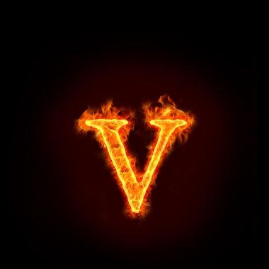 Fire alphabets, small letter v