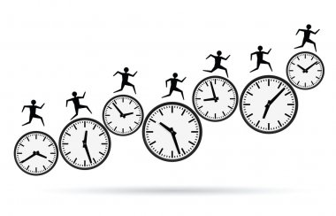 Vector illustrations of busy concepts, running out of time. stock vector