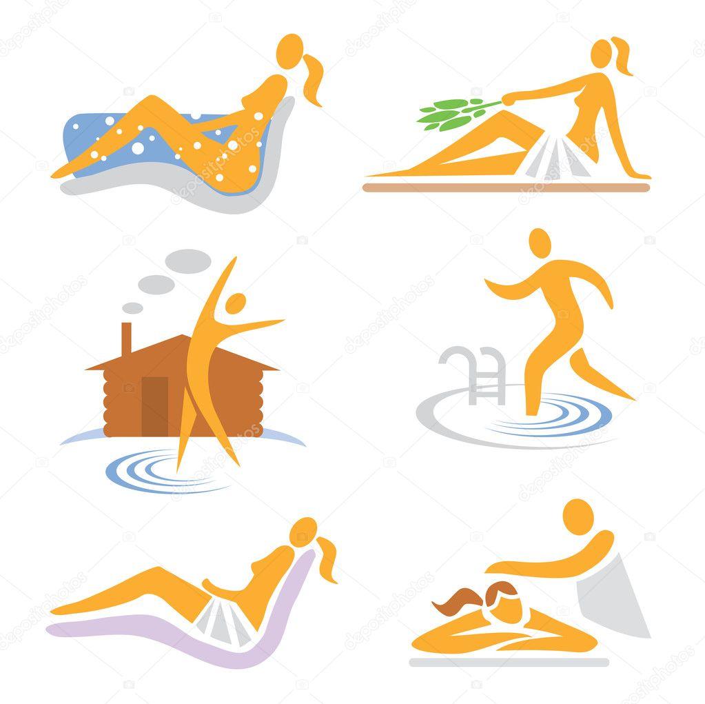 Wellness sauna spa massage icons stock vector for Uniform spa vector