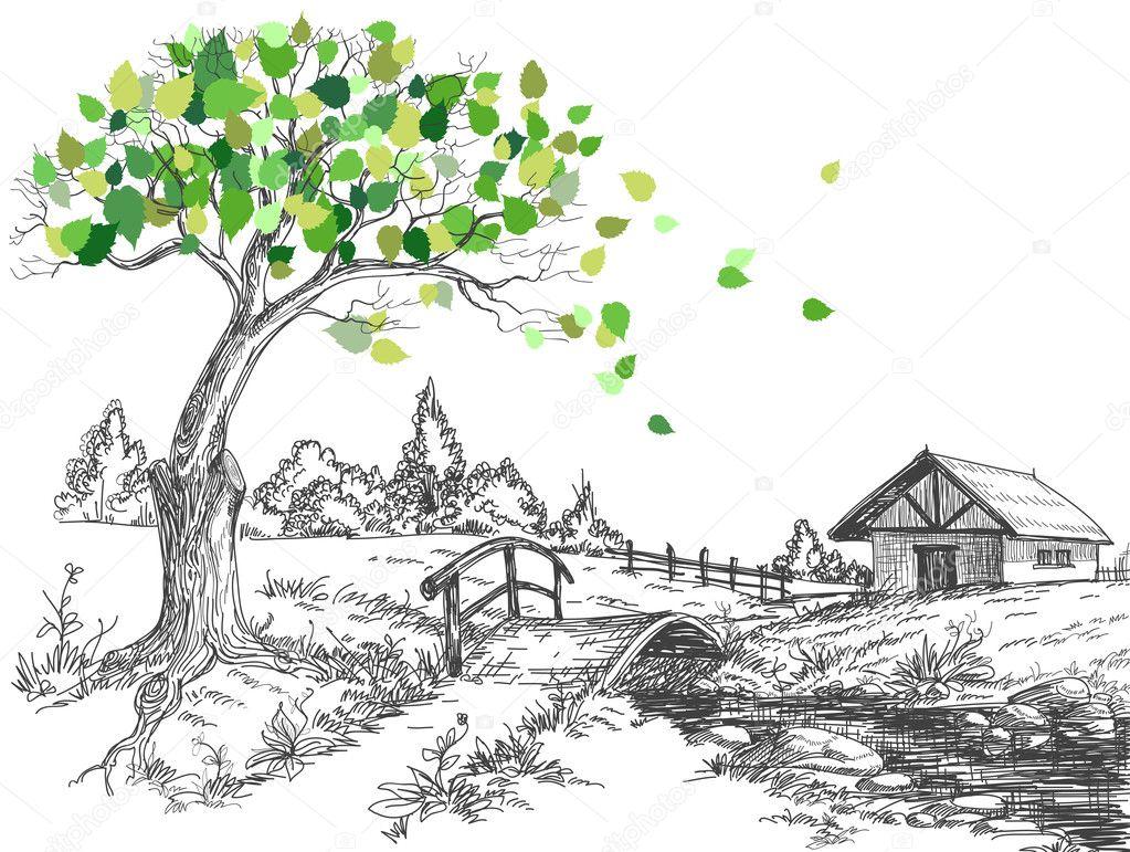 Green leaves spring tree, rural landscape, bridge over river