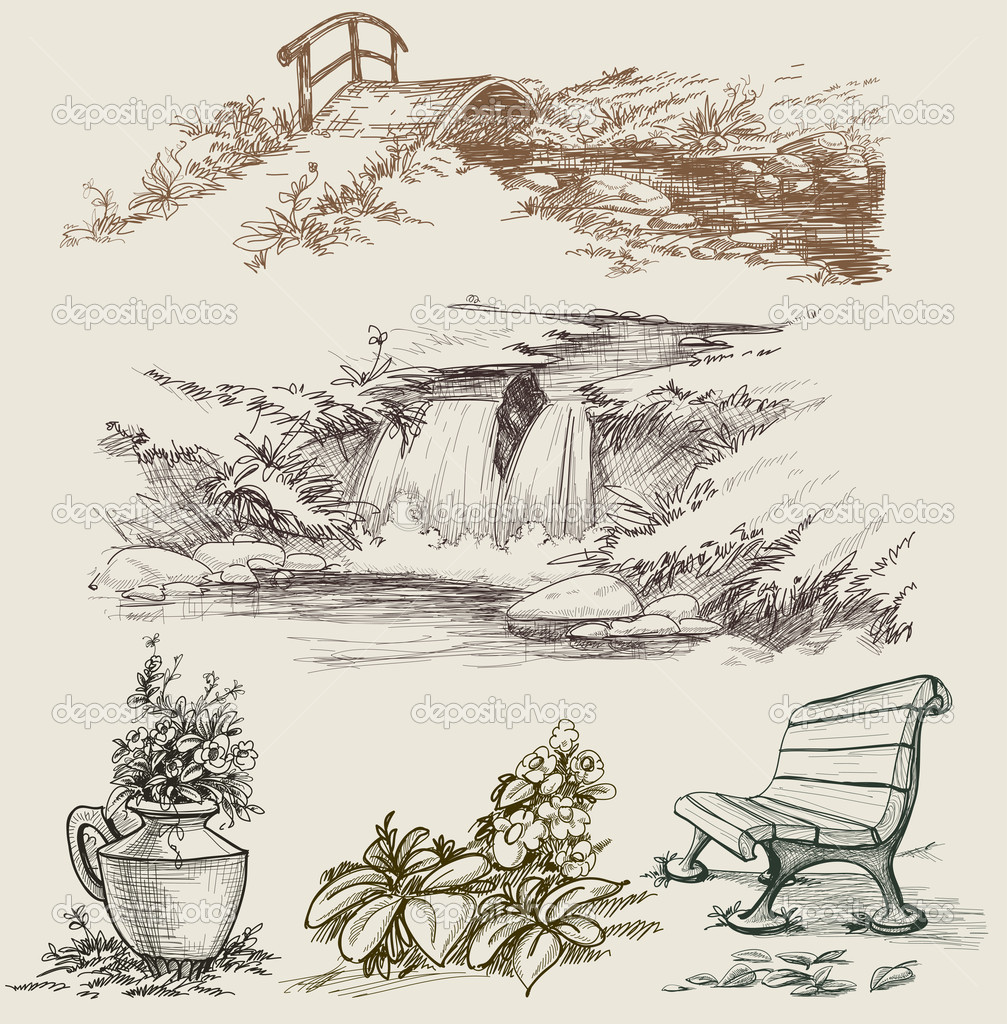 Park or garden design elements sketch