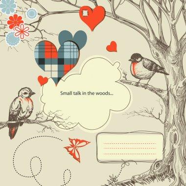 Love birds talk in the woods vector illustration