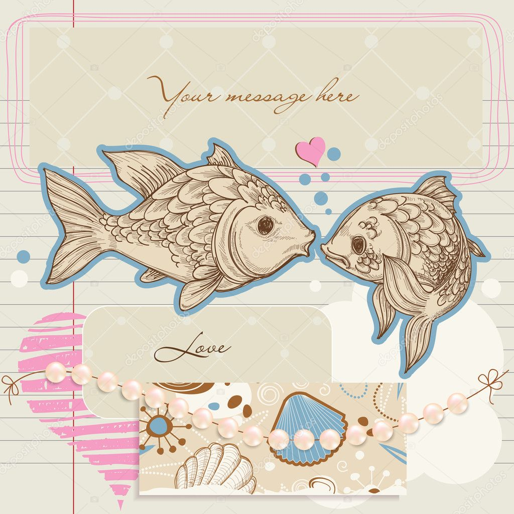 Scrapbook elements on love and sea theme