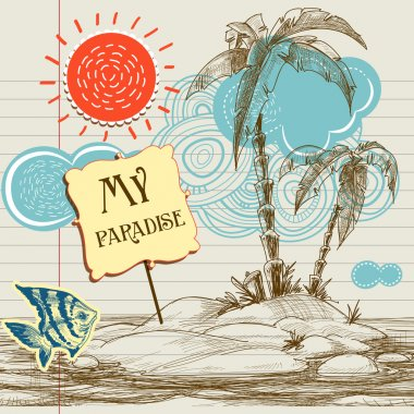 Tropical paradise background, sea holiday flyer