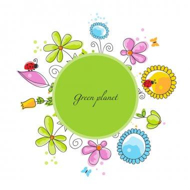 Floral frame, green planet concept