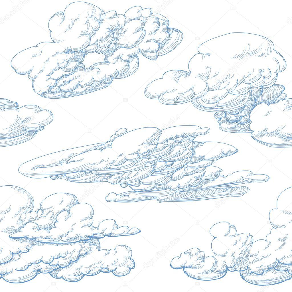 Hand drawn clouds seamless pattern