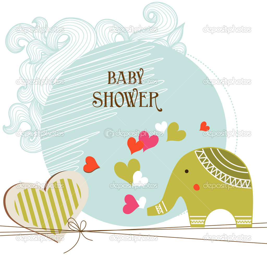 Baby Shower Card Template U2014 Stock Vector