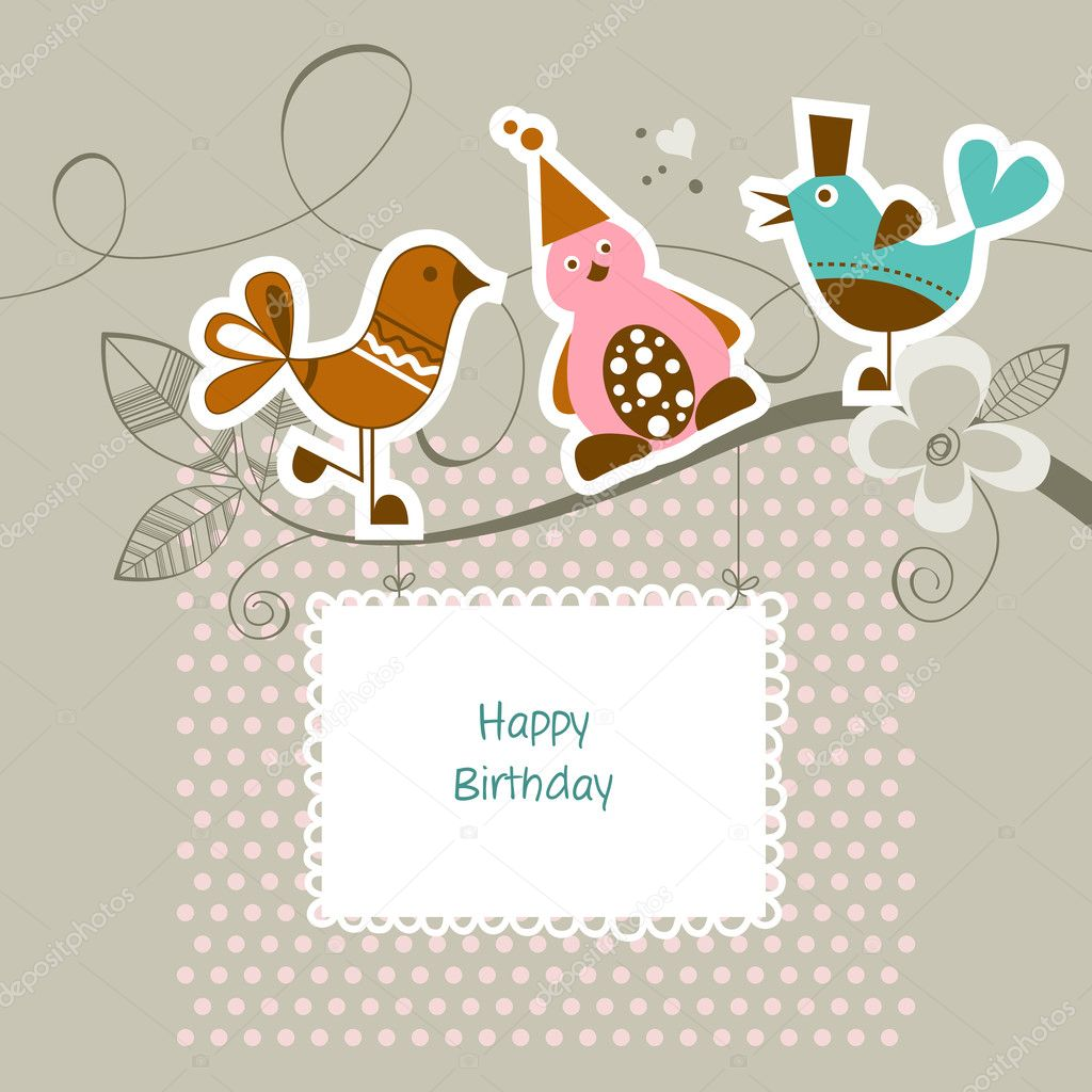 Funny friends on a tree branch happy birthday card Vector – Funny Happy Birthday Cards for Friends