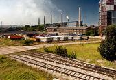 Industry trucks railway co2 chimney industrial building