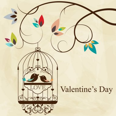 St. Valentine's day greeting card with birds stock vector