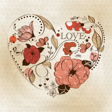 Vintage heart shape. St. Valentine's greeting card clip art vector