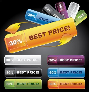 Rectangle web buttons - price tags