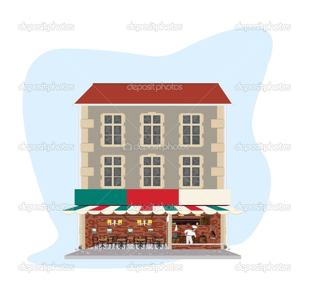 Vintage building with pizzeria