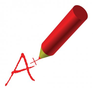 A plus sign written with a red pencil