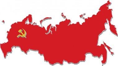 Map of russia in red