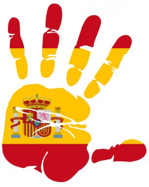 Hand print of Spain flag colors
