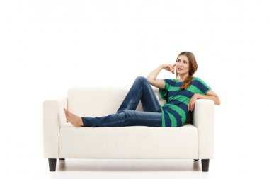 Woman at the sofa thinking