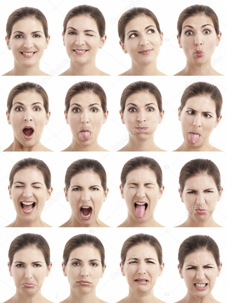 multiple faces expressions stock photo ikostudio 8696157