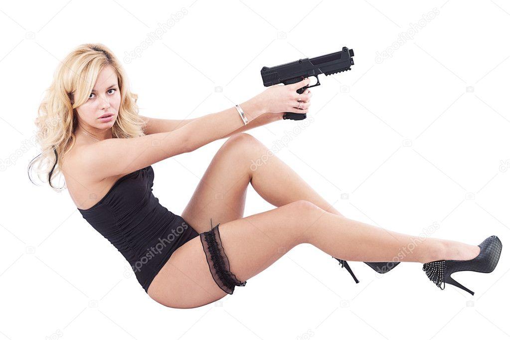 Sexy girl and gun