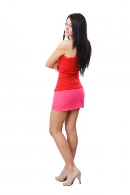 Woman posing in short skirt