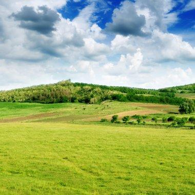 Mountainous terrain and the blue sky stock vector